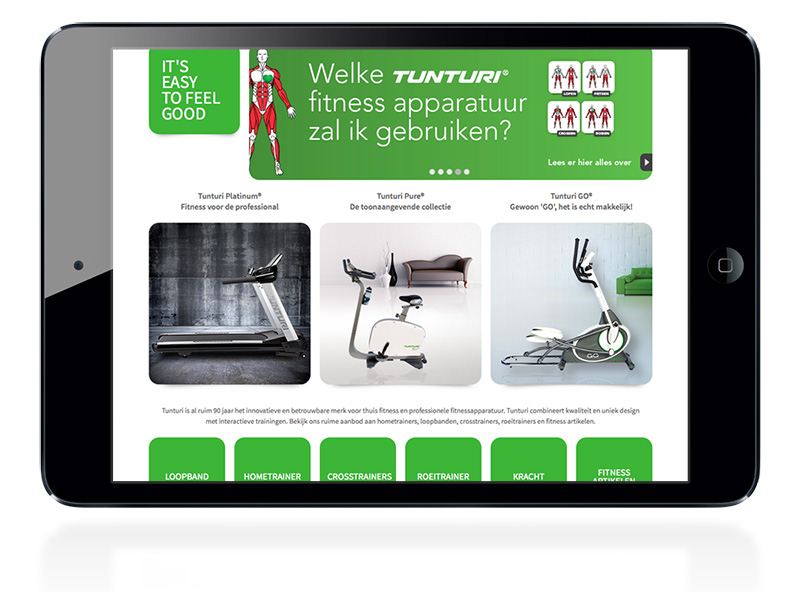 De website van Fitnessmerk Tunturi