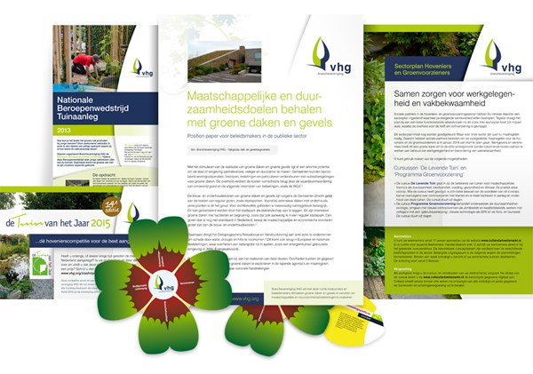 Ontwerp folders, flyers en mailings voor Brancheverenging VHG.